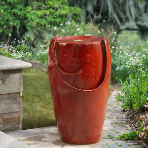 """Glitzhome 21""""H Outdoor Red Ceramic Pot Water Fountain LED Light Pump Waterfall"""