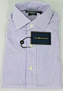 Polo Ralph Lauren Regent Fit Dress Shirt Mens 15 38 Purple White Green Pony New