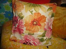 PIER 1 IMPORTS RETRO FLORAL VELVET AMBER GOLD PINK ORANGE THROW PILLOW COVER 19""