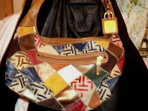 TIGNANELLO Purse Large Leather and Cotton Patchwork Shoulder Bag Hobo Handbag