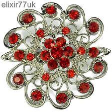 "NEW 2"" SILVER FLOWER PIN BROOCH RED RHINESTONE DIAMANTE CRYSTAL WEDDING PARTY UK"