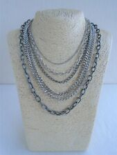 Silver Tone Chain Necklace, Multi Strand