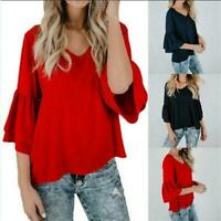Womens Ladies V Neck Flared Long Bell Sleeve Casual T Shirt Tee Top Q