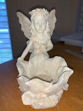 Sunflower candle holder with fairy for tea light or votive candles 5 1/2 x 4