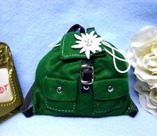Puppenzubehör Puppen Rucksack  aus grünem Filz mit Edelweiß