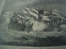 book plate 1897 francis drake attacking the spanish treasure ships