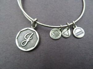 Alex and Ani Silver Tone Bangle Bracelet Charms G or J Monogram Charm Jewelry