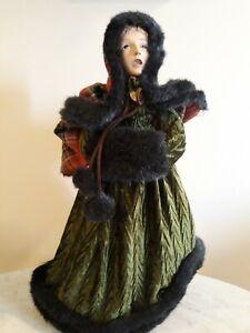 "Vintage Christmas Caroller Tree Topper Centerpiece 15"" Figurine Faux Fur Trim"