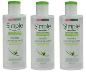 3 x SIMPLE 200mL MICELLAR CLEANSING WATER HYDRATES AND GENTLY REMOVES MAKE-UP