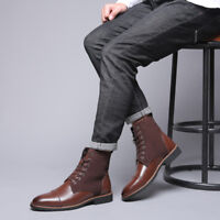 Retro Mens Ankle Boots Pointed Toe Business Dress Lace Up Booties British Shoes
