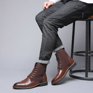 Retro Mens Ankle Boots Pointy Toe Business Dress Lace Up Booties British Shoes S