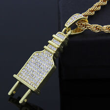 "Hip Hop Style Iced Out Flat ELECTRIC PLUG Pendant 14k Gold Plated 24"" Rope Chain"