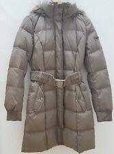ESPRIT Damen Daunenjacke Mantel mit Gürtel und Fellkapuze beige braun Gr.34 NEU