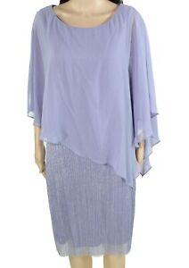 Connected Apparel Womens Sheath Dress Purple Size 10 Metallic-Striped $80 044