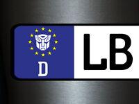 1 x 2 Plott Aufkleber Kennzeichen Nummernschild 20 mm EURO Transformers Tuning