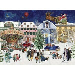 "Traditional Glitter Advent Calendar Santa Funfair 12"" x 9"""