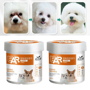 2 Boxes of Cotton Ear Wipes for Dogs, Ear Cleaning Pads for Puppies And Cats