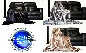 Throwover bedspread Shiny Crushed Velvet New Sofa or bed Throw or Cushion Cover