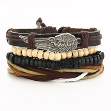 Punk Angel Wing Multi-layer Leather Bracelet Ethnic Vintage Jewelry Men Women