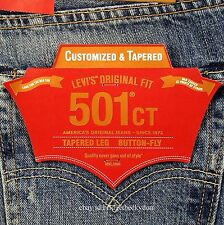 Levis 501 CT Jeans Mens Button Fly Size 33 x 34 BLUE DISTRESSED Tapered Leg NWT