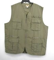 Haband Travelers Men Army Green Zip Front Multi Pocket Sleeveless Fisher Vest XL