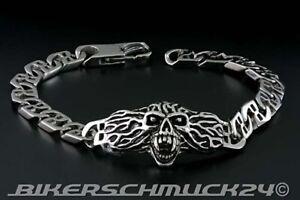 Biker Armband mit zentralem Vampir-Skull und Flammen Edelstahl Herren Geschenk