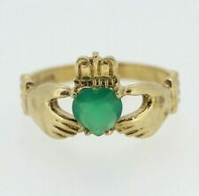 9ct Yellow Gold Green Onyx Claddagh Ring Size V 1/2