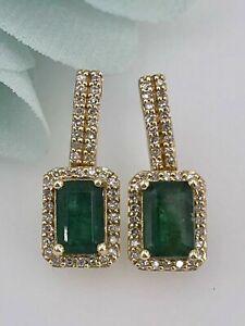 2.5 Ct Emerald & Sim Diamond Womens Drop Dangle Earrings 14K Yellow Gold Plated