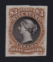 Canada VD #FB36TC (1865) $3 Second Bill Issue Trial Colour Plate Proof in Brown
