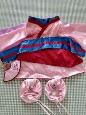 Build A Bear Disney Princess Mulan Outfit, Shoes And Fan Rare