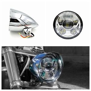 "5.75"" Chrome alloy LED daymaker bullet headlight Harley LOW RIDER FAT STREET BOB"