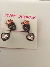 $30 Betsey Johnson Pave Skull Drop Earrings New 2016 BP-6