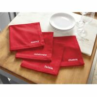 "Mud Pie Christmas Red Dinner Napkins Cotton 18"" Square  NEW"