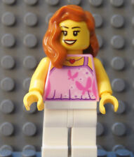 LEGO Contempory Girl Female Top Red Heart Neckless White Legs Dark Orange Hair