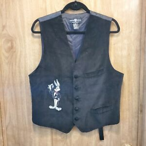 Vintage 1995 Warner Bros Studio Store Bugs Bunny Black Dress Vest Man's M