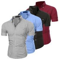 Herren Kurzarm Freizeithemd Herrenhemd Hemd Shirt Slim Fit Casual Sommer FL