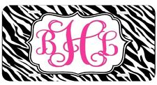 Personalized Monogrammed License Plate Auto Car Tag Zebra Black Pink Vine