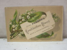 Vintage Parkers Combination Store Germantown, Pennsylvania Trade Card