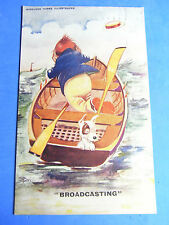 Comic Postcard 1920s Antique WIRELESS Vintage Radio BROADCASTING - Boating Theme