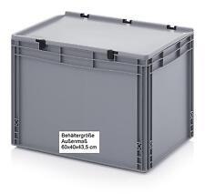Stapelkisten mit Scharnier-Deckel 60x40x43,5 cm Transport Stapelboxen Lagerkiste