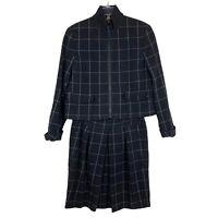Akris Punto Black 100% Wool Grid Print Blazer Suit Skirt Set Womens Size 6,8