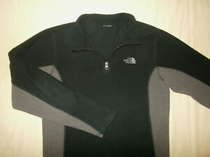 THE NORTH FACE 1/4 ZIP LONG SLEEVE BLACK & GRAY FLEECE SHIRT BOYS LARGE EXCELL.