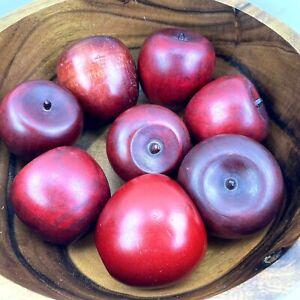 "VTG 70's Wood Red Apples Artificial Fruit Rustic Farm House Cottage 2"" (8 Lot)"