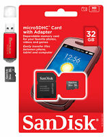 SanDisk MicroSD HC 32GB 32G Micro SD Flash Memory Card w Adapter Red Card Reader