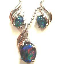 Lightning Ridge NSW Australian Natural Black Triplet Opal Pendant & Earring