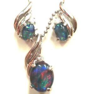 Lightning Ridge Natural Black Triplet Opal Pendant & Earring  FREE JEWELLERY BOX