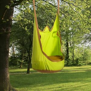 Hanging Pod Swing Seat Cotton Child Hammock Chair w/ Cushion for Indoor Outdoor