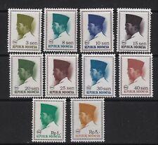 Republic of Indonesia 1966 President Sukarno Definitives to 5 Rupee MNH (10v).