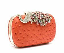 WOMENS MANMADE LEATHER CLUTCH BAG WEDDING PARTY WORK PEACOCK BLACK RED ORANGE