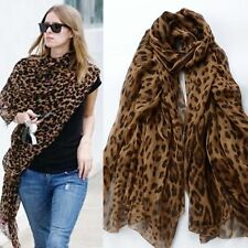 FASHION CELEBRITY LONG SOFT ANIMAL LEOPARD PRINT CHIFFON SHAWL SCARF WRAPS NT
